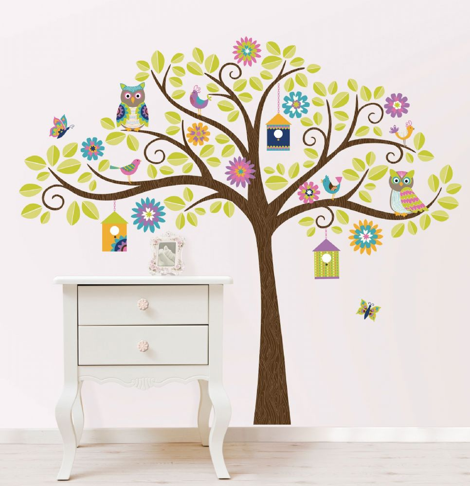 Hoot and Hang Out Tree Wall Art Sticker Kit